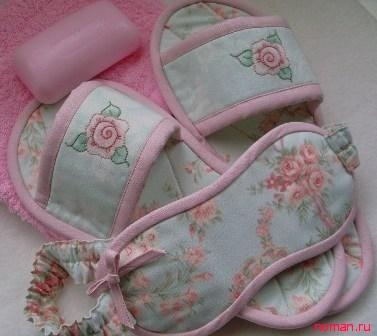 Домашние тапочки и повязка на глаза по одной выкройке