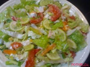 Салат с твердым сыром и курицей