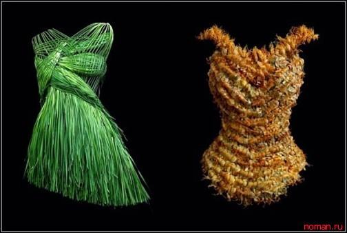 Платье из лука-порея и корсет из креветок