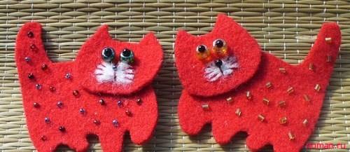 Кошки-брошки из фетра