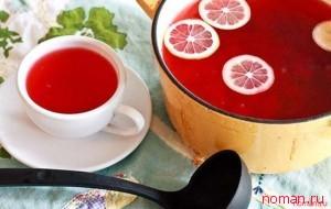 Клюквенный чай с лимоном