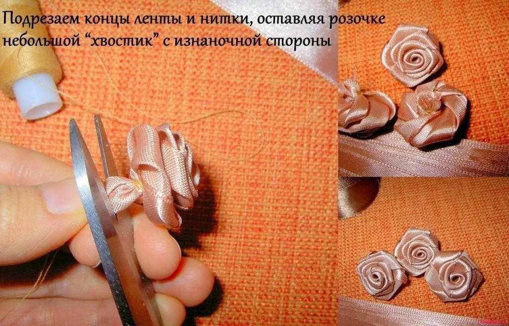 Розочки из атласных лент