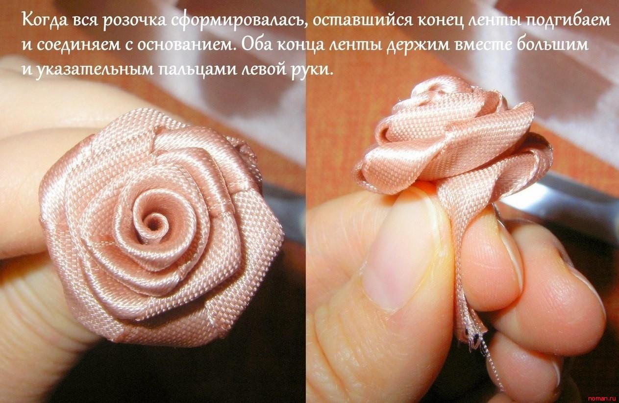 Розы для топиария своими руками из атласных лент