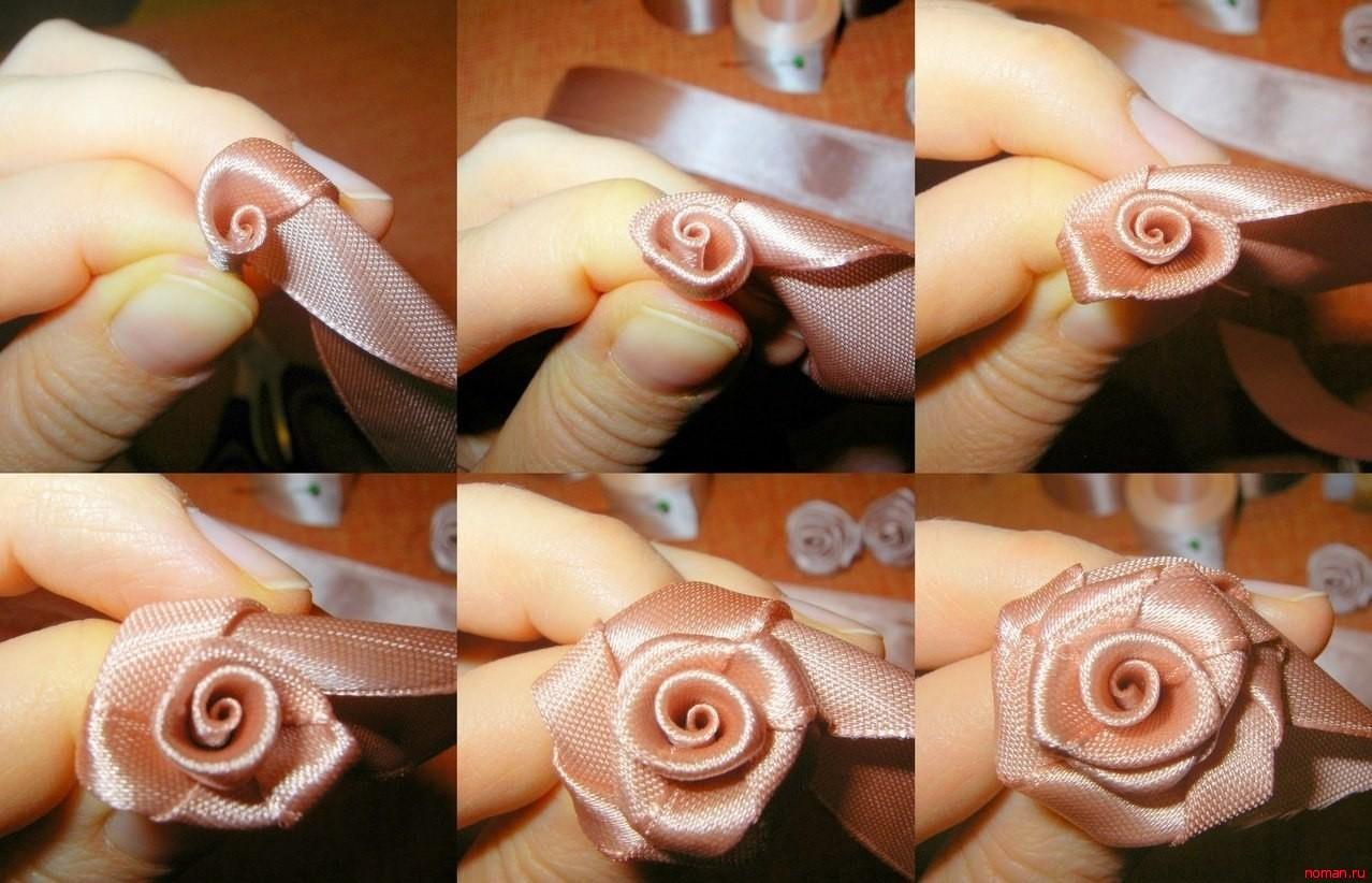 Как сделать цветочки из ленты своими руками пошаговое фото