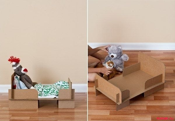 Кровать для кукол из картона своими руками