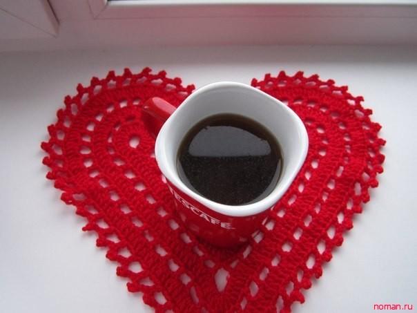 Салфетка в форме сердца для влюбленных