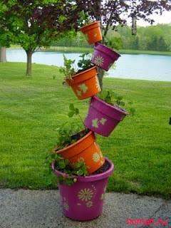 Делаем декор сада или балкона из цветочных горшков