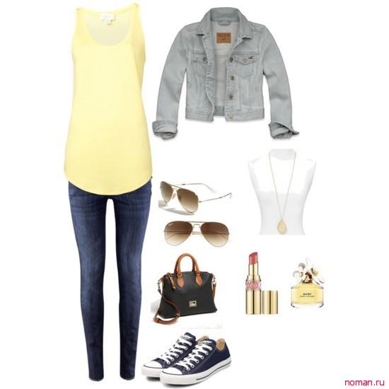 желтый и джинса