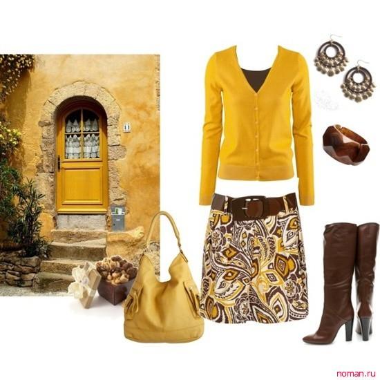 желтый и коричневый