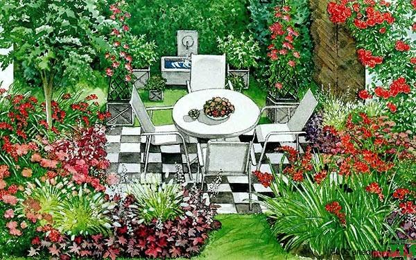 Варианты оформления маленького участка или дворика