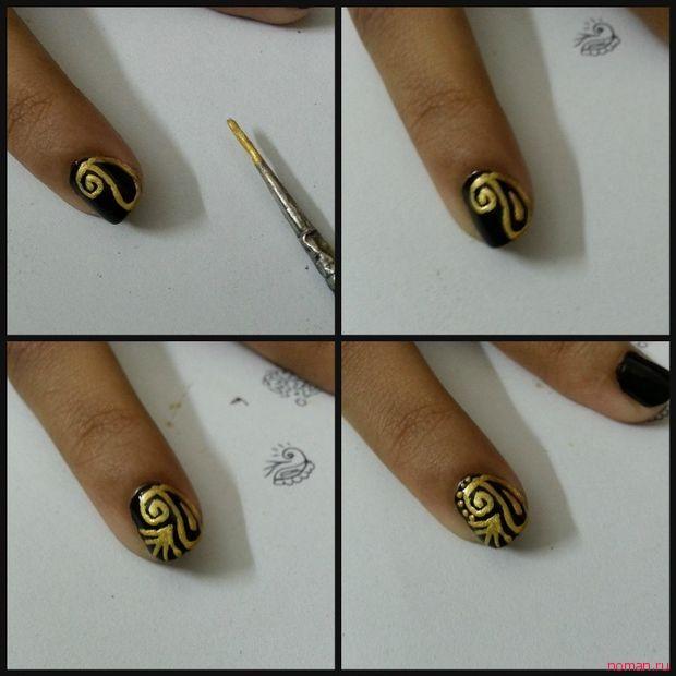 маникюр черное золото